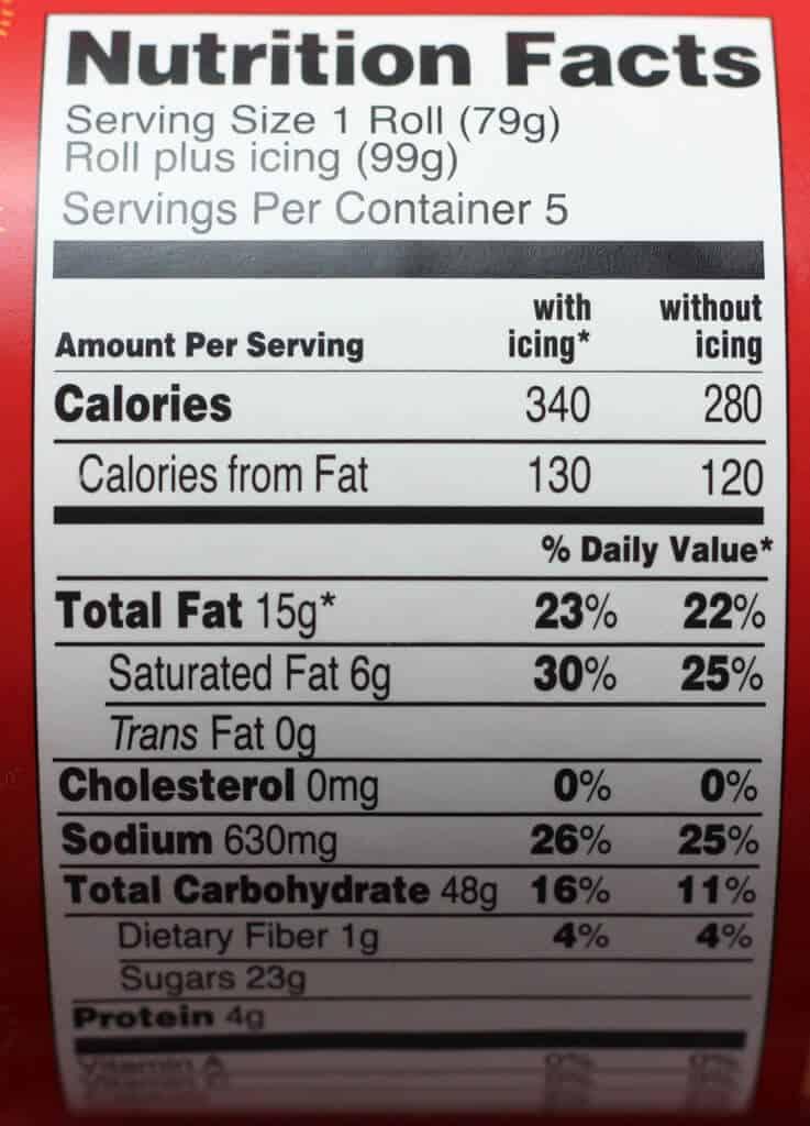 Trader Joe's Jumbo Cinnamon Rolls nutritional information