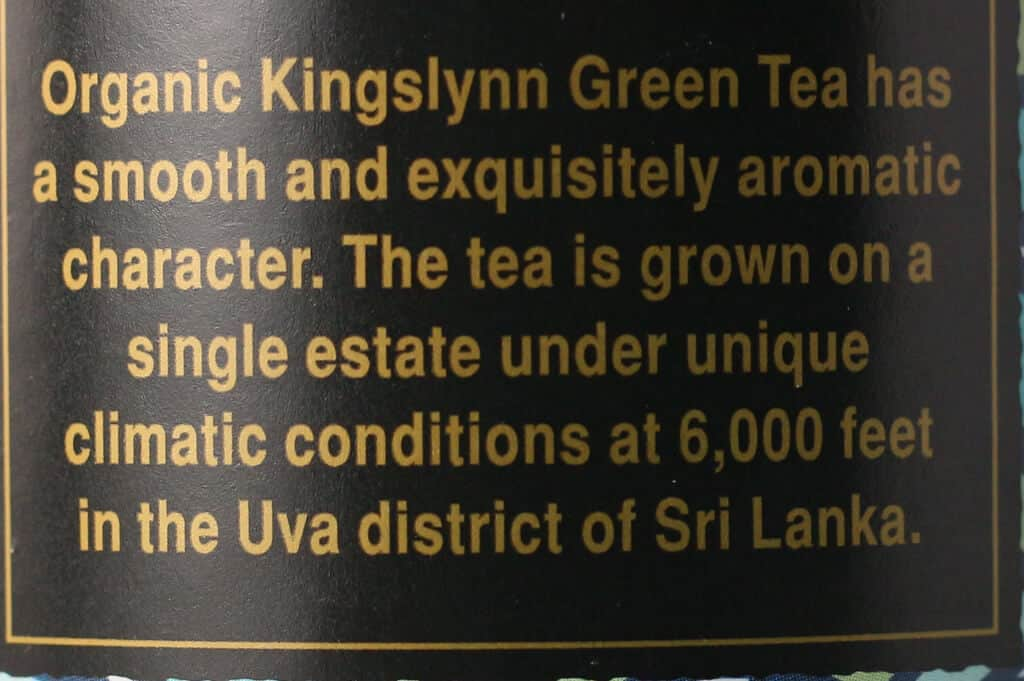 Trader Joe's Kingslynn Green Tea description on container