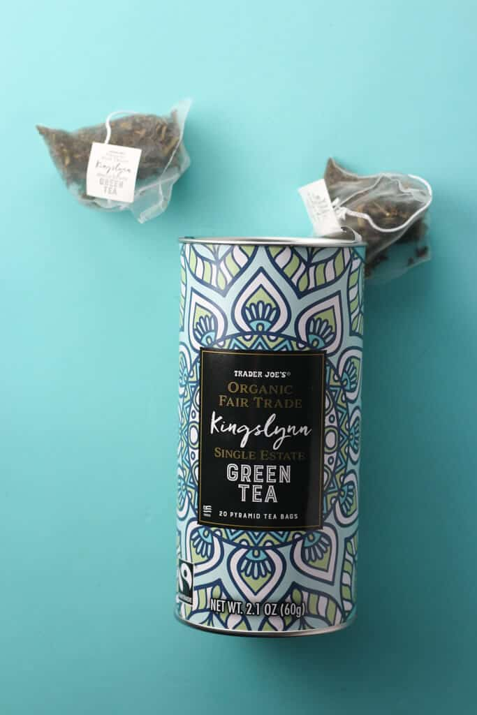 Trader Joe's Kingslynn Green Tea showing the bags of tea