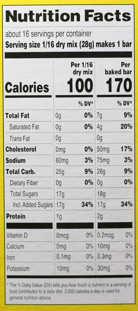 Trader Joe's Lemon Shortbread Bar Mix nutritional information