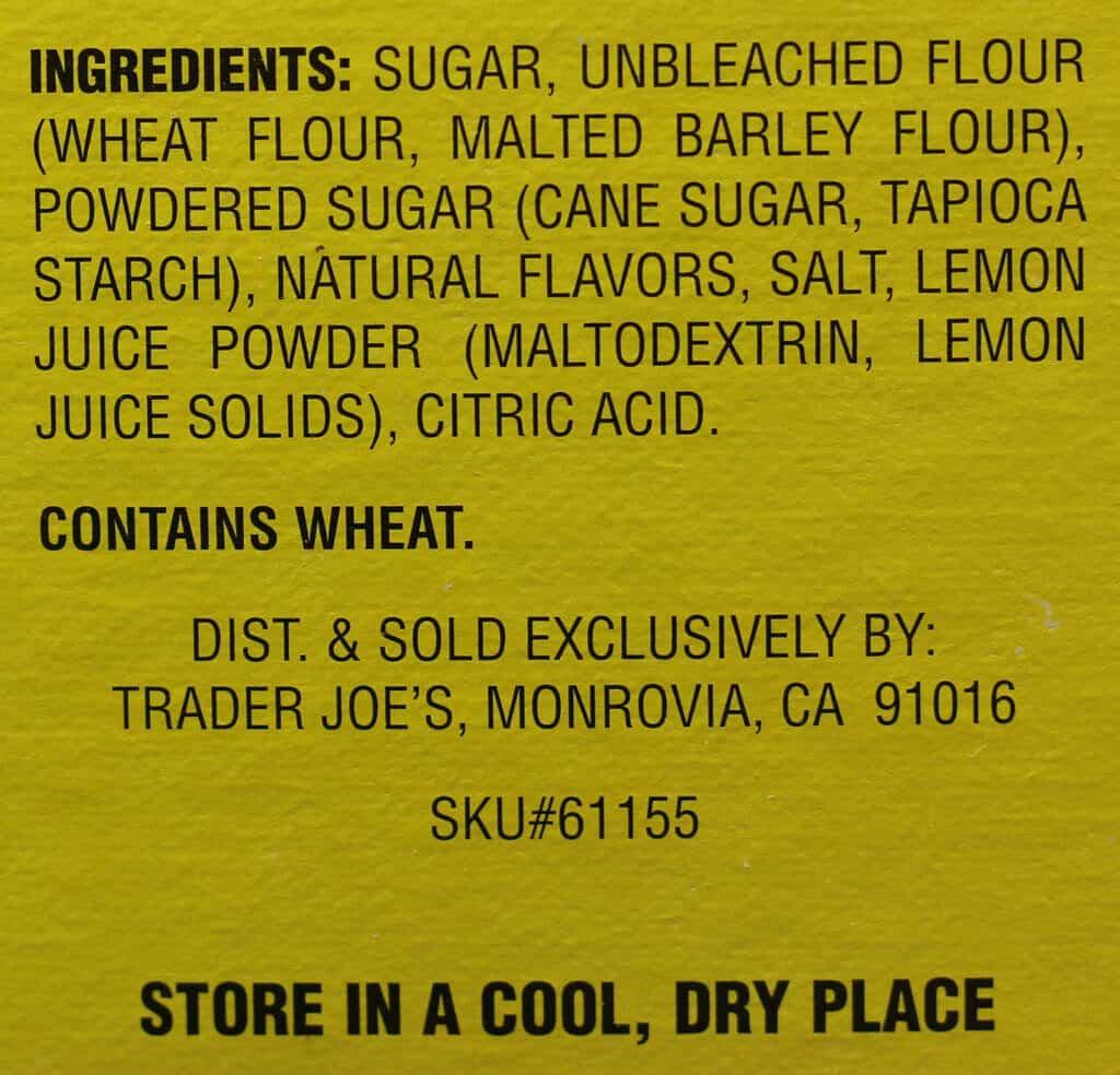 Trader Joe's Lemon Shortbread Bar Mix ingredient list