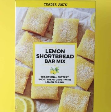 An unopened box of Trader Joe's Lemon Shortbread Bar Mix