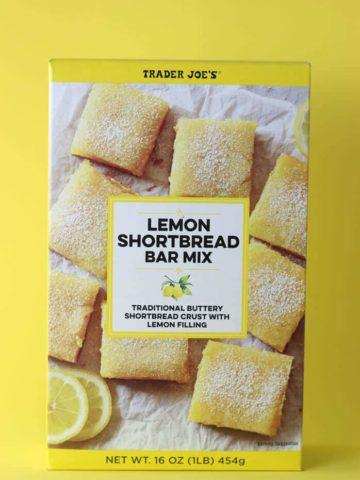 An unopened box of Trader Joe's Lemon Shortbread Bar Mix