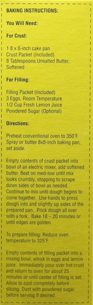 Trader Joe's Lemon Shortbread Bar Mix how to prepare