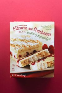 An unopened box of Trader Joe's Macaron Aux Framboises
