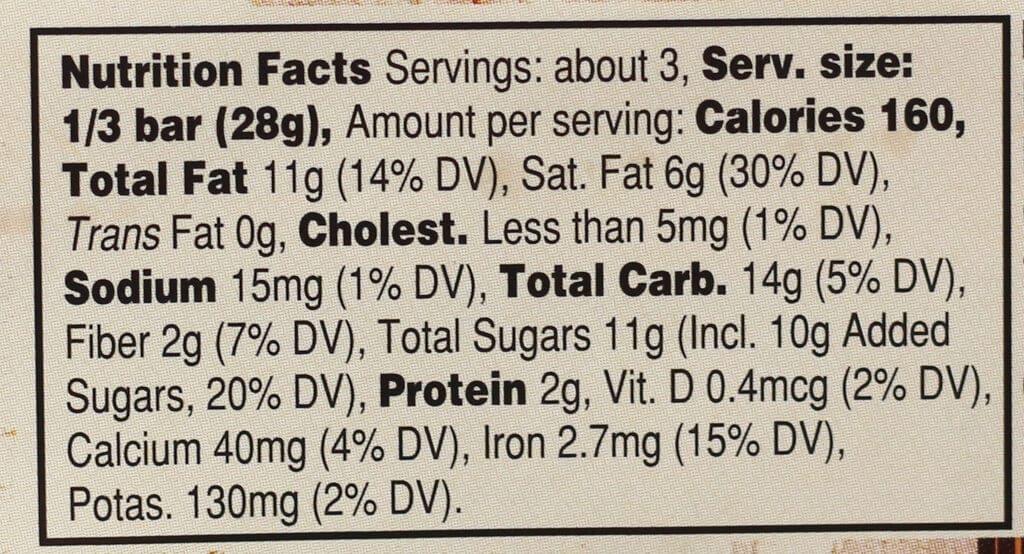 Trader Joe's Milk and Dark Chocolate Butterscotch Bits Bar nutritional information