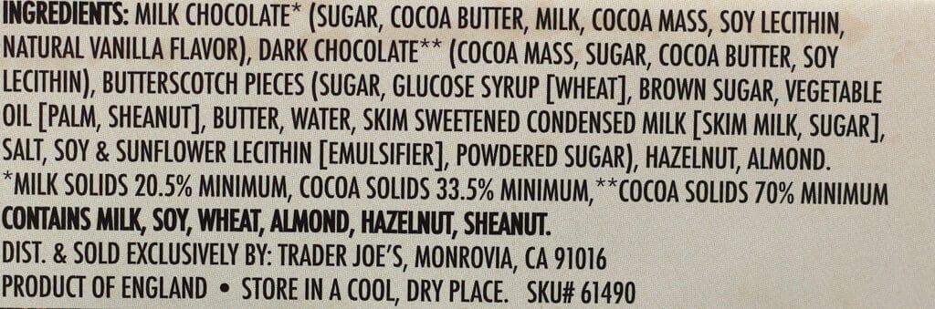 Trader Joe's Milk and Dark Chocolate Butterscotch Bits Bar ingredient list