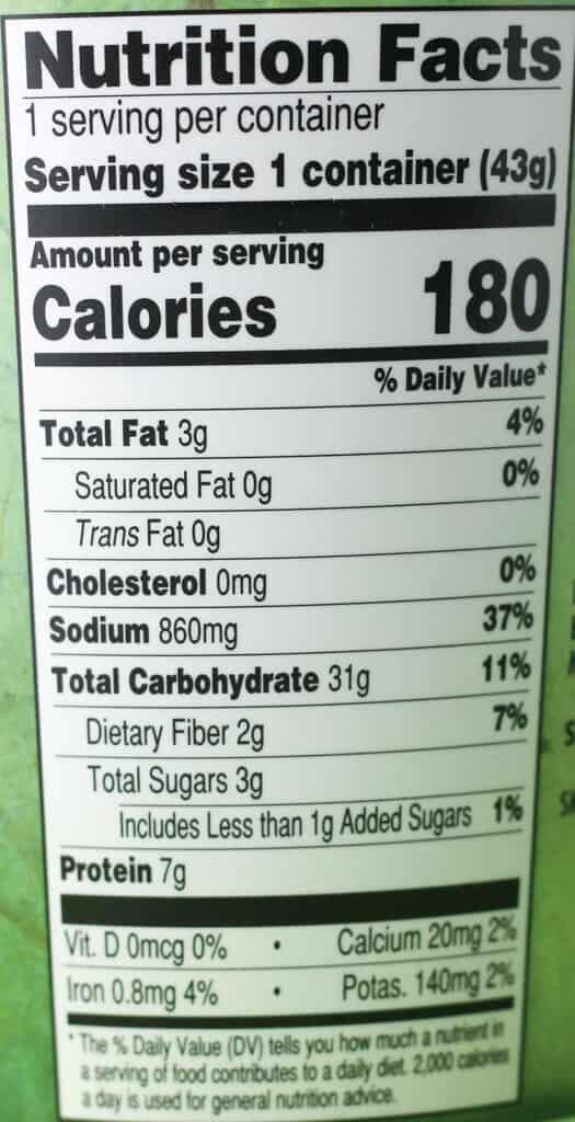 Trader Joe's Miso Ramen Soup nutritional information