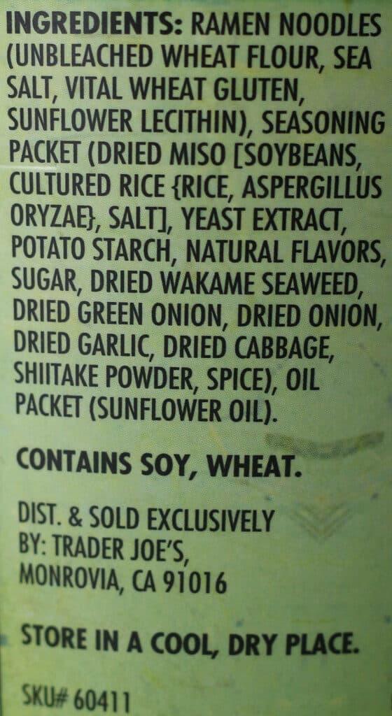 Trader Joe's Miso Ramen Soup ingredients