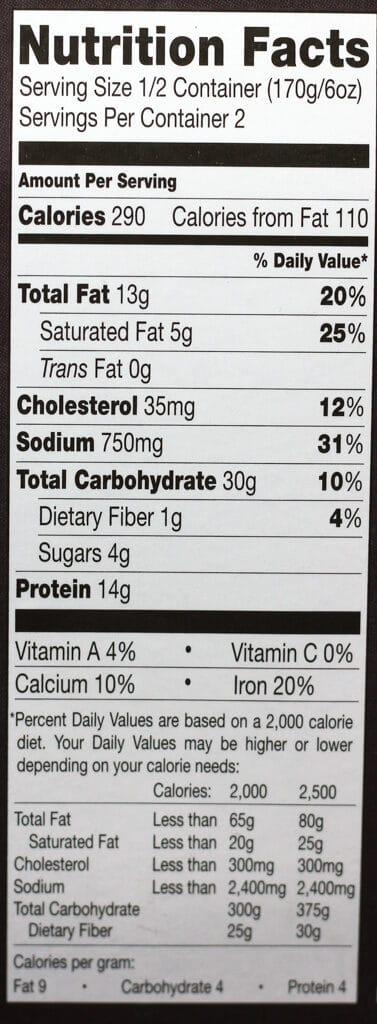 Trader Joe's Pepperoni Mac and Cheese Bowl nutritional information