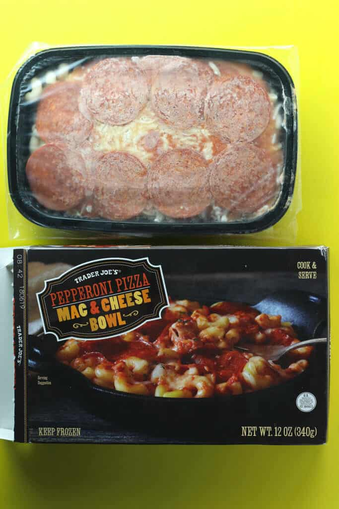 Trader Joe's Pepperoni Mac and Cheese Bowl out of the box
