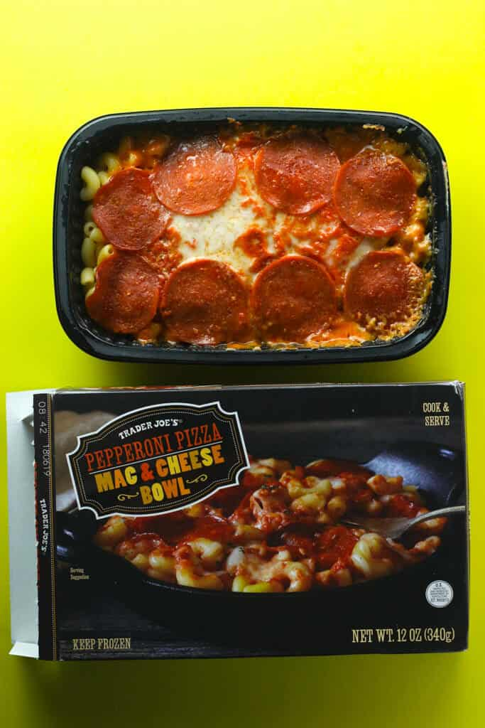 Trader Joe's Pepperoni Mac and Cheese Bowl fully cooked