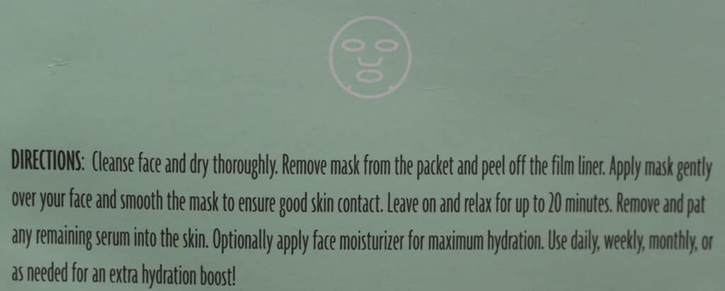Trader Joe's Rich Hydrating Face Sheet Mask directions