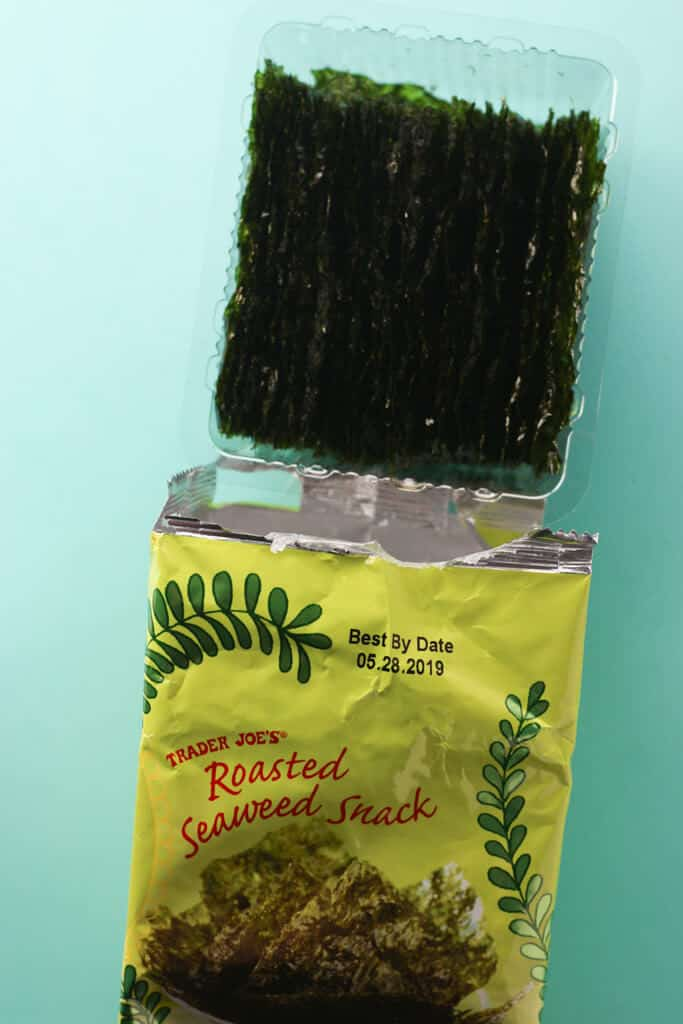 Trader Joe's Roasted Seaweed Snack out of the package