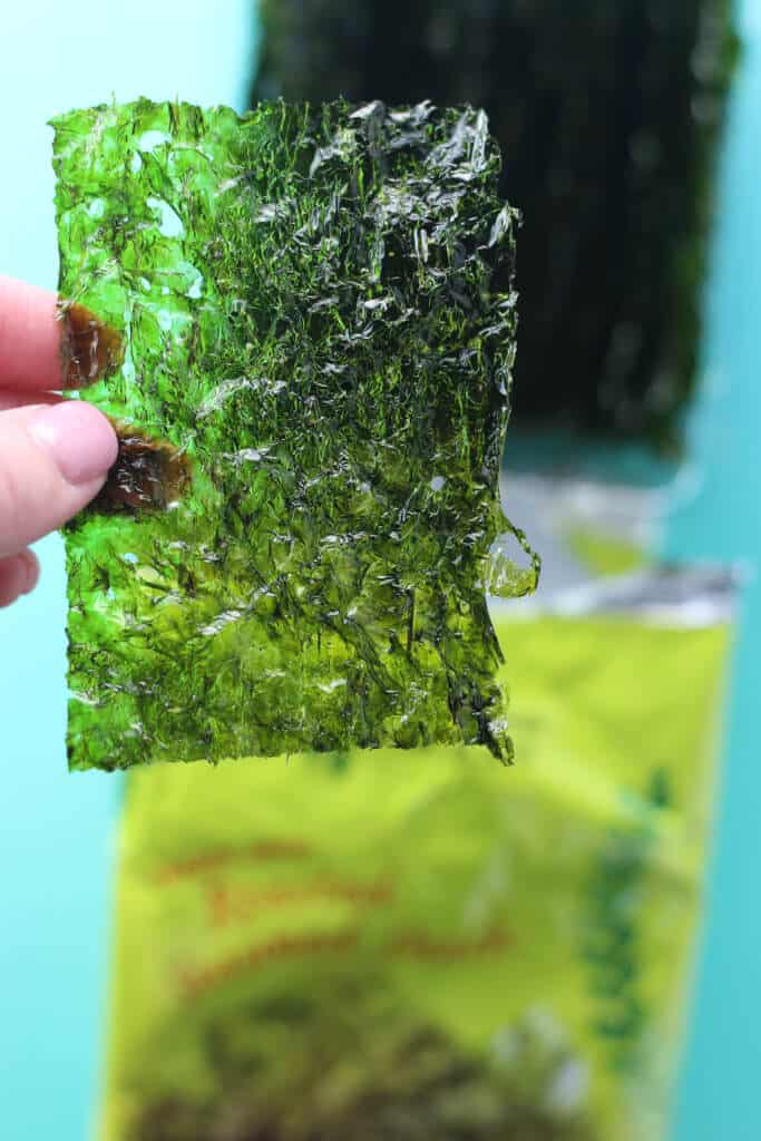 Trader Joe's Roasted Seaweed Snack up close
