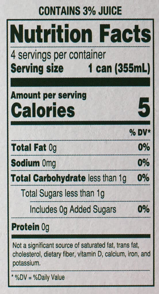 Trader Joe's Seltzer Water flavored with Cranberry and Lime Juice nutritional information