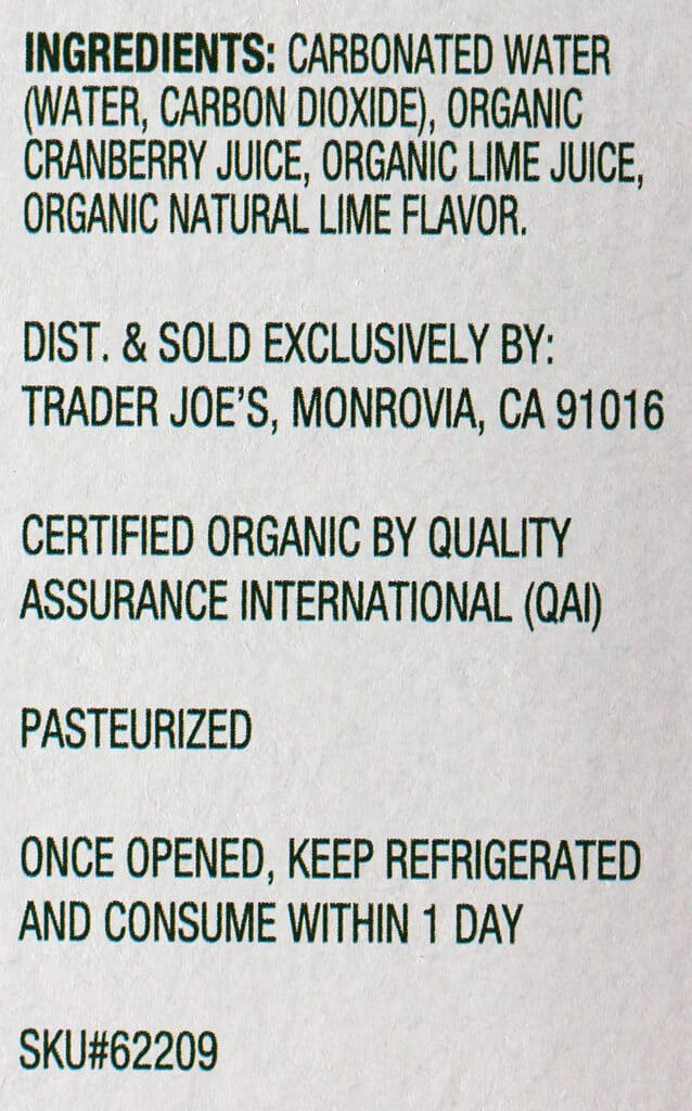 Trader Joe's Seltzer Water flavored with Cranberry and Lime Juice ingredient list