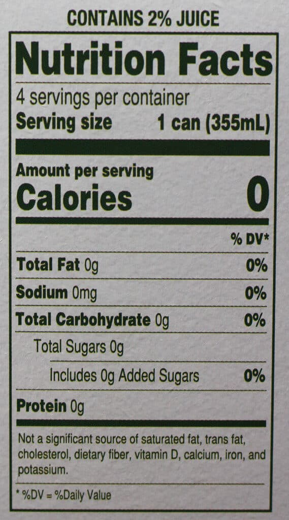 Trader Joe's Seltzer Water flavored with Lemon and Ginger Juice nutritional information