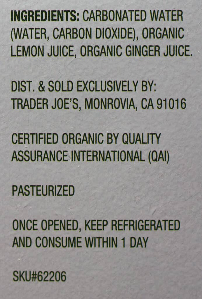 Trader Joe's Seltzer Water flavored with Lemon and Ginger Juice ingredients