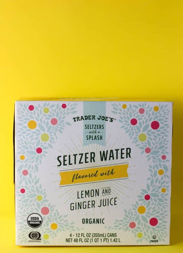 Trader Joe's Seltzer Water flavored with Lemon and Ginger Juice package