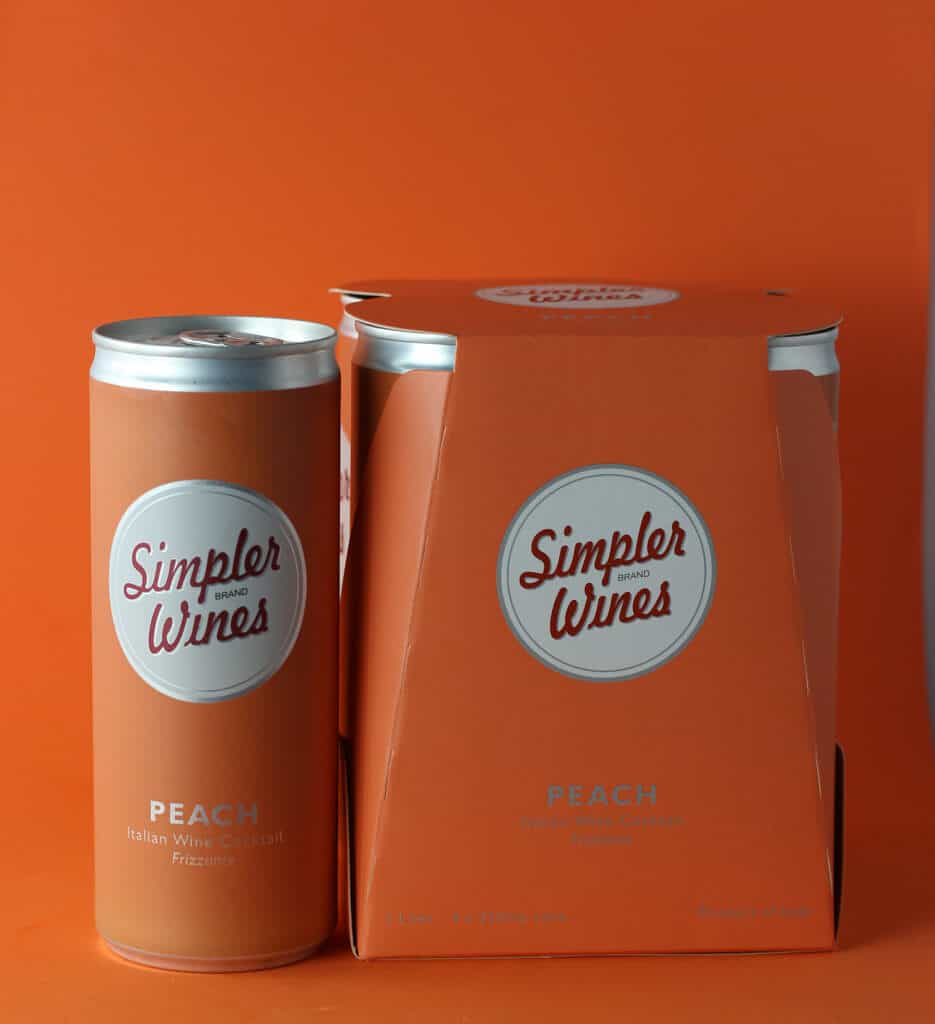 Trader Joe's Simpler Wines Peach can next to the original packaging