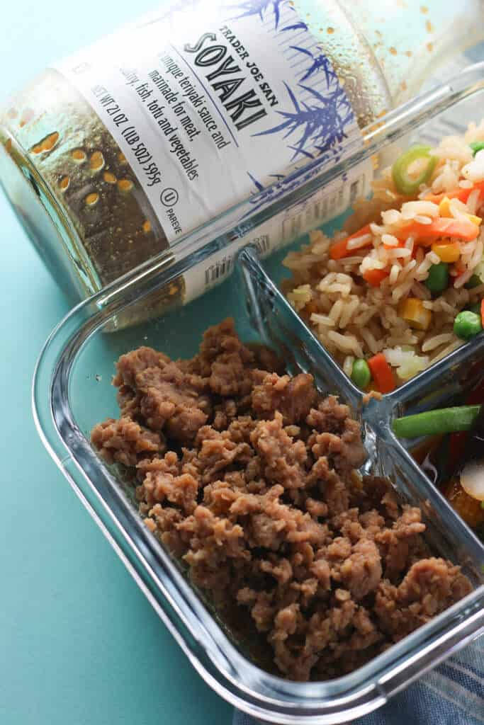 Trader Joe's Soyaki cooked in some ground pork with some fried rice