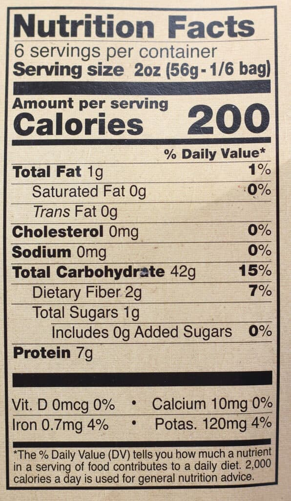 Trader Joe's Squid Ink Spaghetti nutritional information