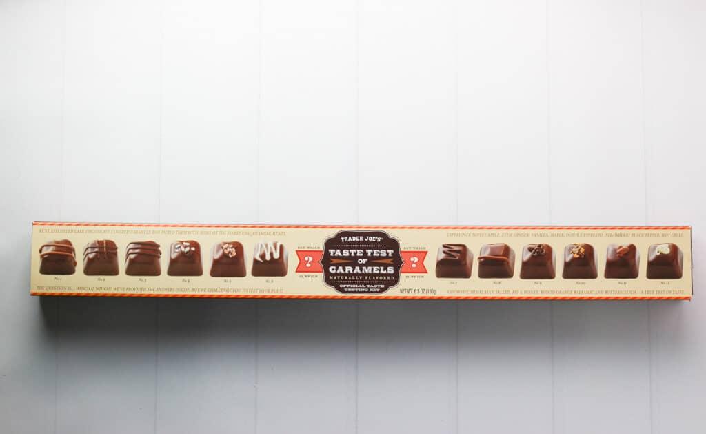 An unopened box of Trader Joe's Taste Test of Caramels