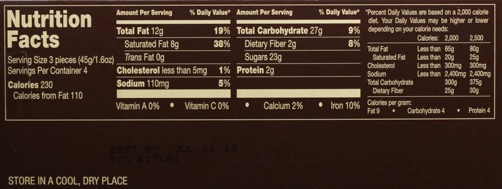Trader Joe's Taste Test of Caramels nutritional information
