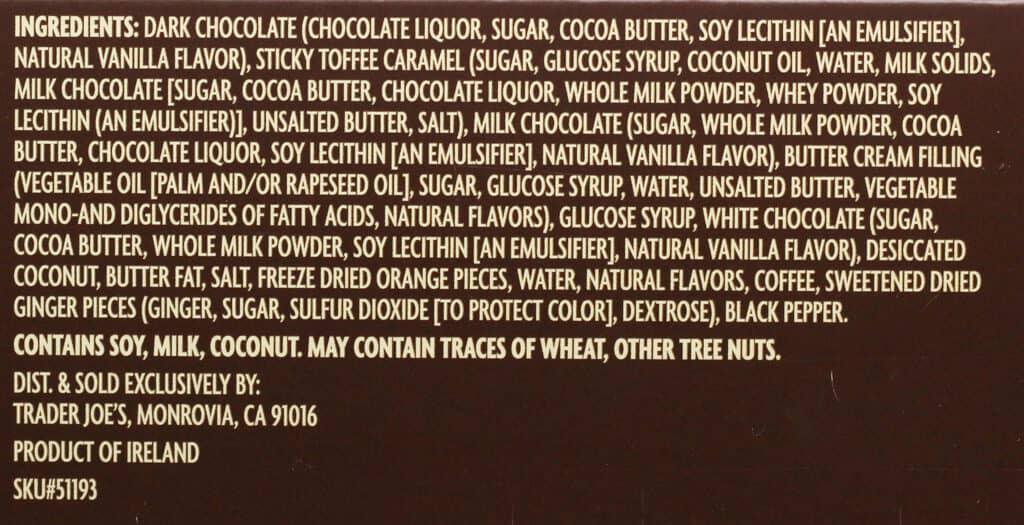 Trader Joe's Taste Test of Caramels ingredient list