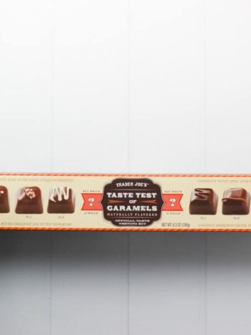 An unopened box of Trader Joe's Taste Test of Caramels