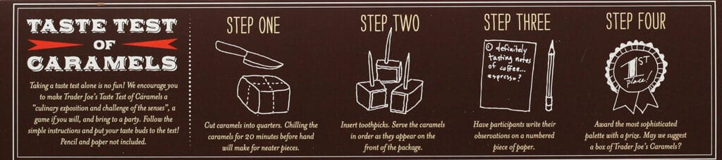 Trader Joe's Taste Test of Caramels how to play their game.