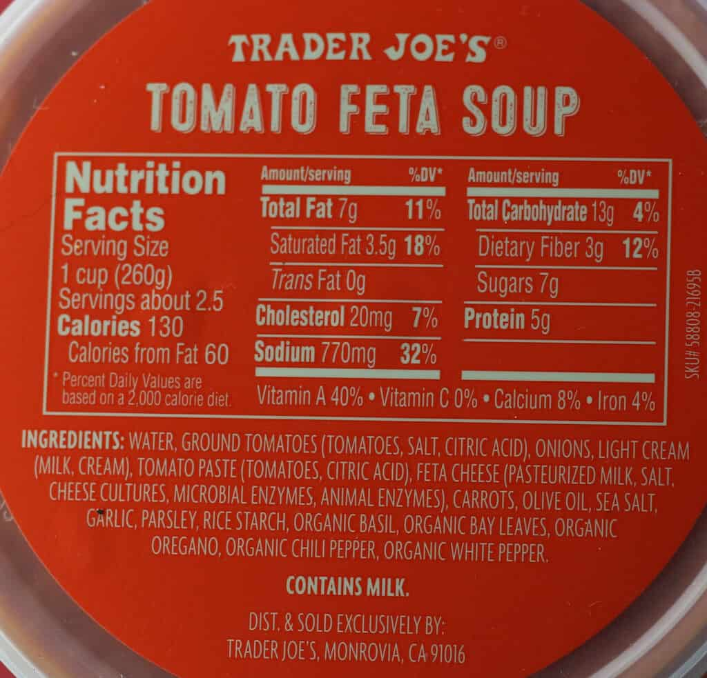 Trader Joe's Tomato Feta Soup ingredients and nutritional information