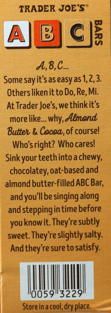 Trader Joe's ABC Bars description