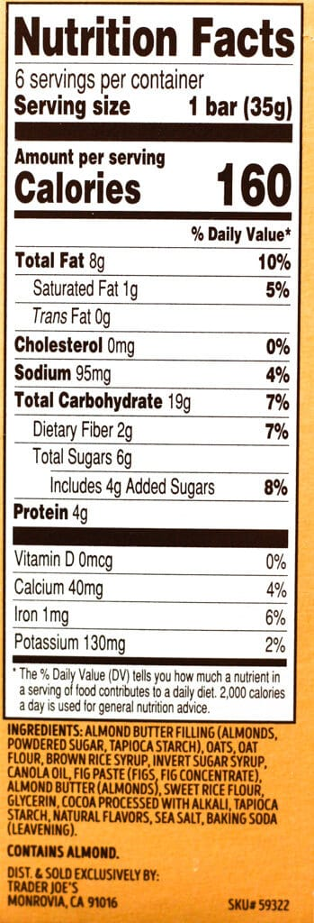 Trader Joe's ABC Bars nutritional and ingredient information