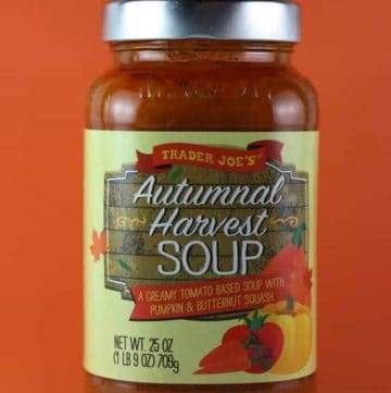 An unopened jar of Trader Joe's Autumnal Harvest Soup