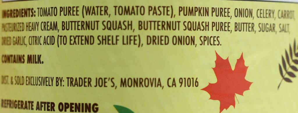 Trader Joe's Autumnal Harvest Soup ingredients