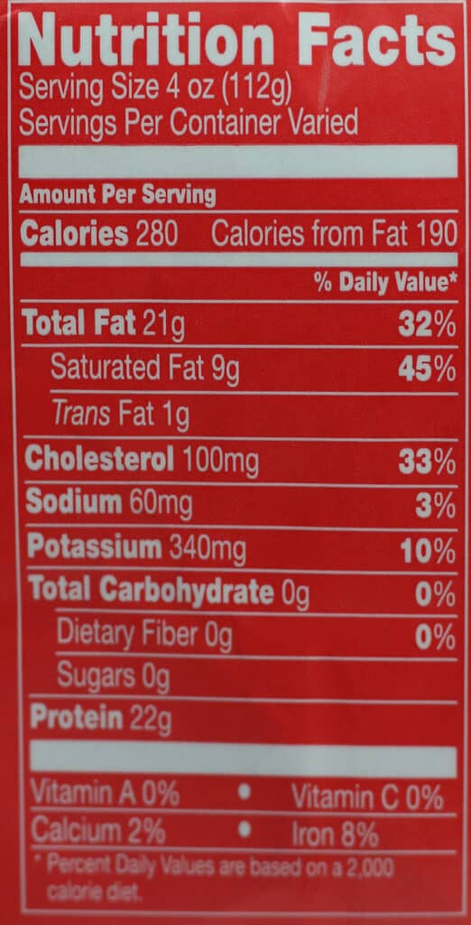 Trader Joe's Beef Filet Mignon Steak nutritional information