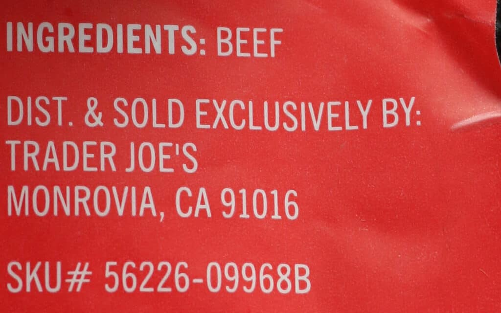 Trader Joe's Beef Filet Mignon Steak ingredient list