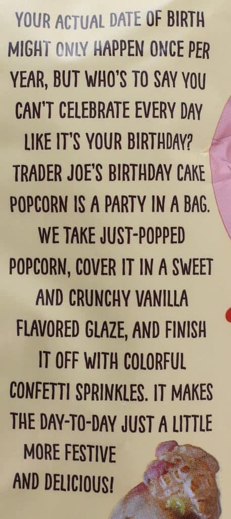 Trader Joe's Birthday Cake Popcorn description