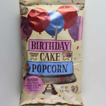An unopened bag of Trader Joe's Birthday Cake Popcorn