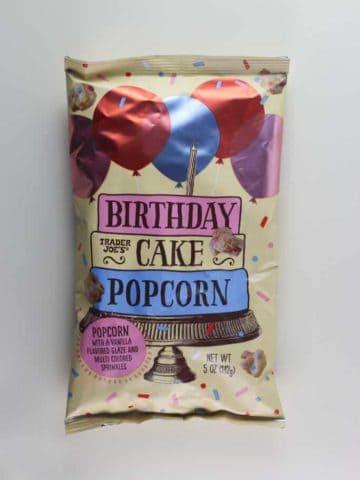 An unopened bag of Trader Joe's Birthday Cake Popcorn