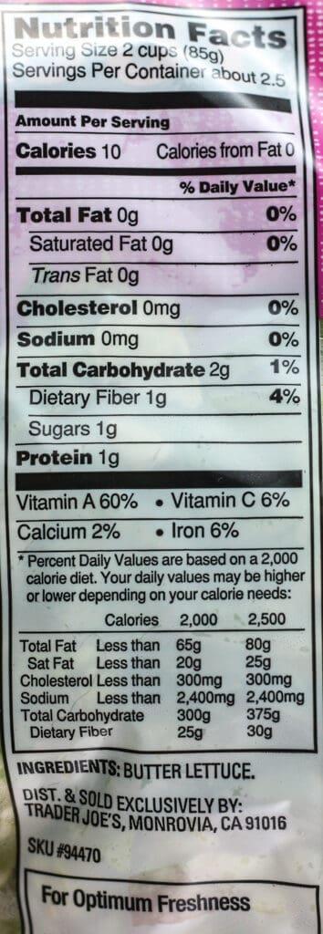 Trader Joe's Butter Lettuce nutritional information