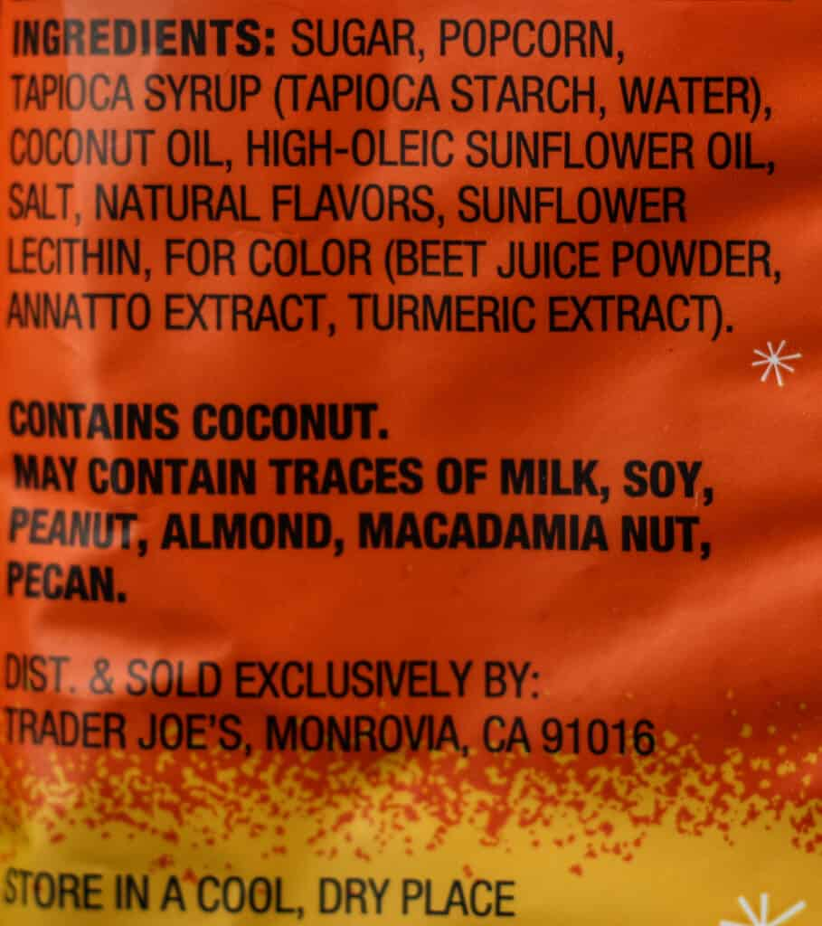 Trader Joe's Candy Corn Popcorn ingredient list