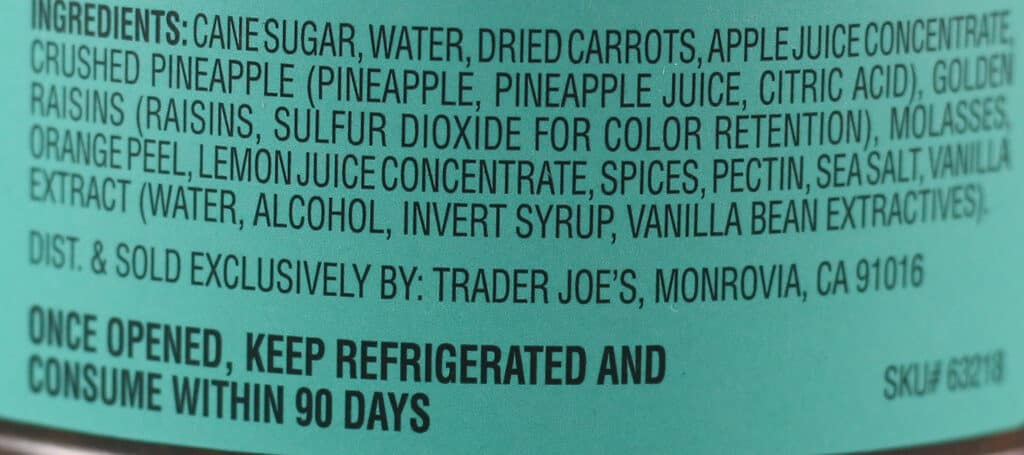 Trader Joe's Carrot Cake Spread ingredients