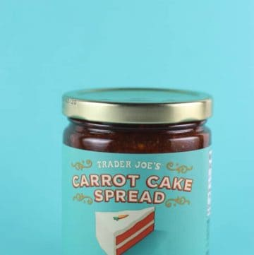 An unopened jar of Trader Joe's Carrot Cake Spread