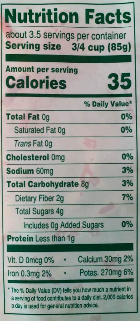 Trader Joe's Carrot Spirals nutritional information