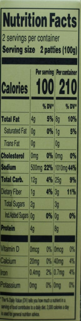 Trader Joe's Cauliflower and Broccoli Vegetable Patties nutritional information