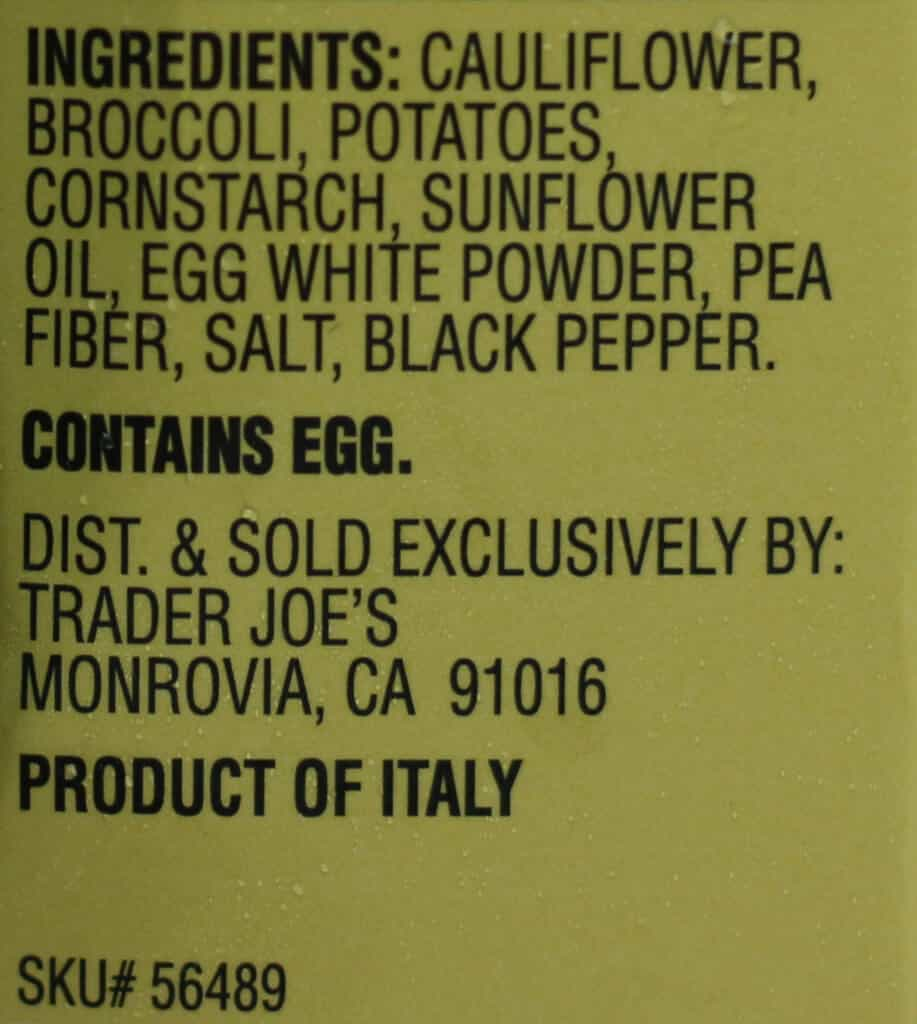 Trader Joe's Cauliflower and Broccoli Vegetable Patties ingredients