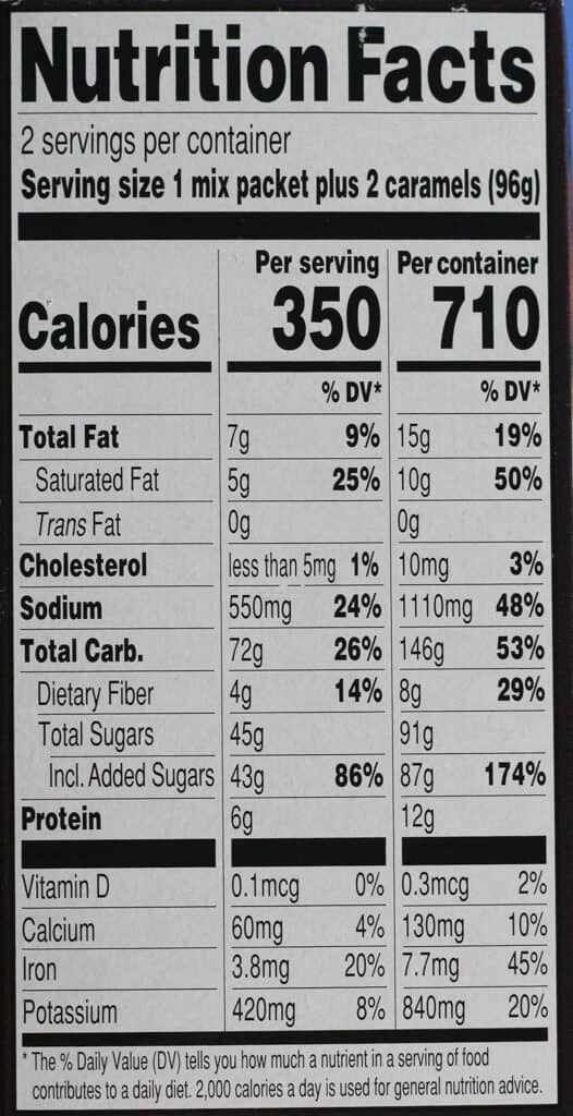 Trader Joe's Chocolate Salted Caramel Mug Mix nutritional information